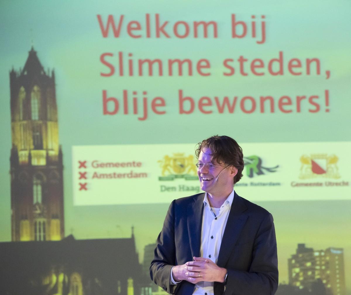 Maarten Schurink tijdens het G4 CIO-congres Slimme steden, blije bewoners